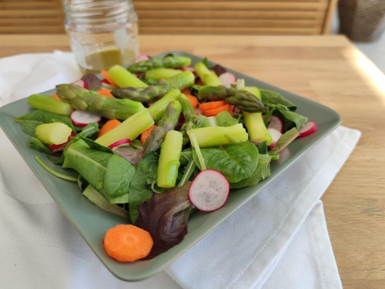 Salade composée d'un mélange de mesclun, roquette, pousses d'épinards, asperges vertes, carotte et radis dans une assiette creuse carrée verte